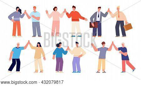 People High Five. Friendship, Cartoon Women Clapping Hands. Happy Friends Gestures, Business Celebra