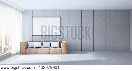 Modern Concrete Office Interior With Empty White Mock Up Frame, Couch, Pillows And Window With City