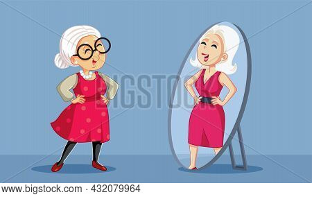 Senior Woman Seeing Her Younger Self In The Mirror