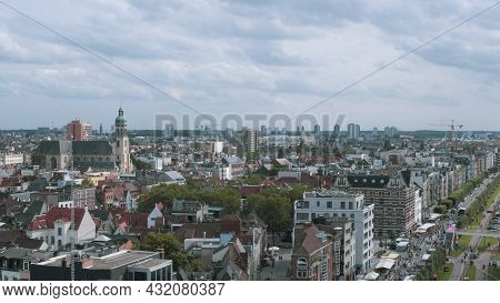 Antwerp. Flemish Region. Belgium 15-08-2021. Fragment Of A Panorama Of The City Of Antwerp From A He