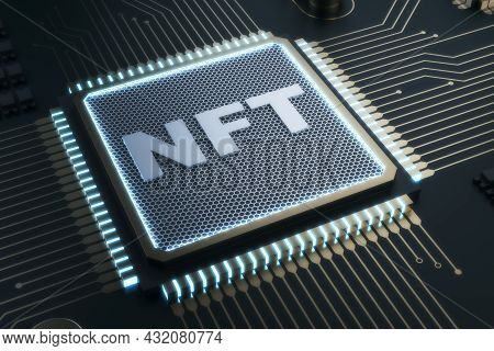 Abstract Shiny Nft Chip On Gray Background. Non-fungible Token And Hardware Concept. 3d Rendering