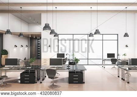 Contemporary Coworking Concrete Office Interior With City View And Daylight. 3d Rendering