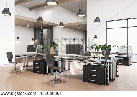 Clean Coworking Concrete Office Interior With City View And Daylight. 3d Rendering