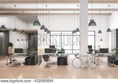 Modern Coworking Concrete Office Interior With City View And Daylight. 3d Rendering
