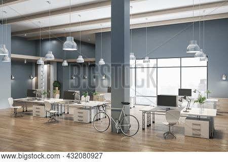 Spacious Coworking Concrete Office Interior With City View, Wooden Flooring And Daylight. 3d Renderi