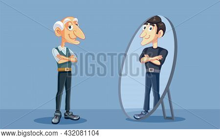 Senior Man Seeing His Younger Self In The Mirror