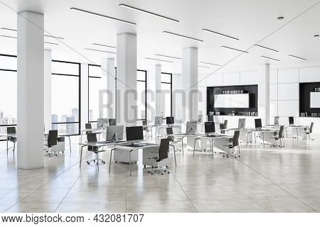 Modern White Concrete Coworking Office Interior With Daylight And City View. Business Interiors Conc