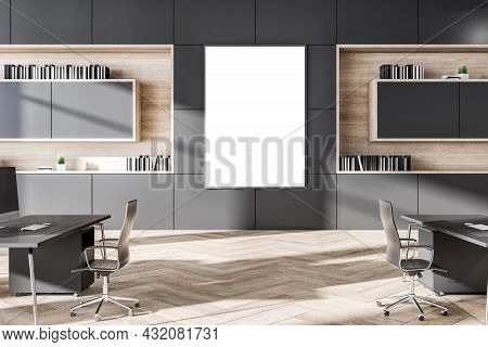 Clean Grey Coworking Office Interior With Wooden Flooring, Daylight And Empty White Mock Up Poster.