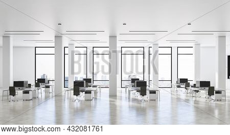 Contemporary White Concrete Coworking Office Interior With Daylight And City View. Business Interior