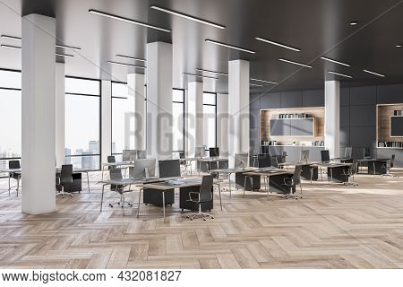 Modern Grey Coworking Office Interior With Wooden Flooring, Daylight And City View. Business Interio