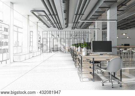 Sketch Of Creative Coworking Office Interior With Bright City View And Concrete Flooring. Design, Re