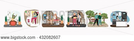 Pregnant Women Exercising, Sleeping, Walking With Husband, Visiting Doctor, Vector Illustration. Pre