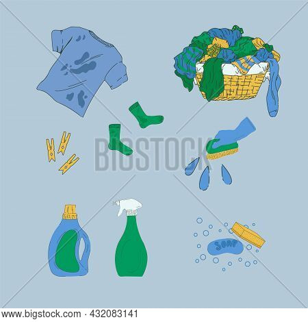 Cartoon Set Laundry And Cleaning Services. A Basket Of Dirty Laundry, A T-shirt, Socks With Stains.
