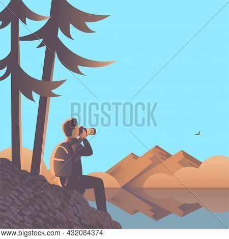 Man With A Camera Are Sitting On The Lake