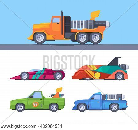 Fast Trucks. Fuel Moving Sport Vehicles Acceleration Nitrous Oxide Fire Flame Shapes Garish Vector F