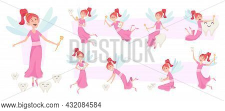 Tooth Fairy Characters. Female Fairytale Princess Cute Little Girl Holding Magic Wand And Tooth Exac