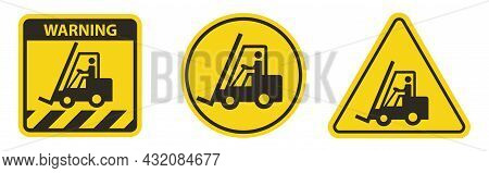 Warning Do Not Operate The Forklift On White Background