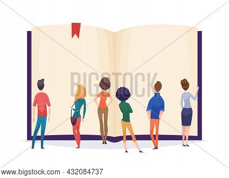 People Are Reading A Giant Book. Crowd Stand In Front Blank Books Sheets. Info Or Faq Vector Concept