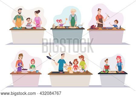 Breakfast Family. Happy Parents With Kids Cooking At Kitchen Dinner Vegetables Cut Fruits Boiling Fo
