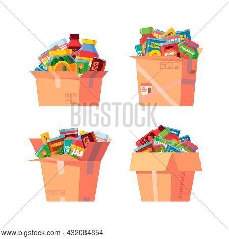 Food In Cardboard Box. Canned Products In Containers Grocery Packages Warehouse Boxes With Jars Cons