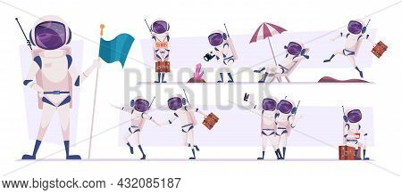 Space Travellers. Cosmonauts In Action Poses Futuristic Tourists Walking Playing Relaxing Exact Vect