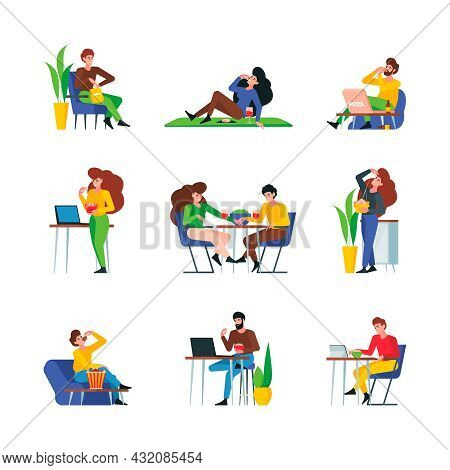 People Eating. Male And Female Adults Characters Eating Restaurant Food Meals Fruits Vegetables Meat