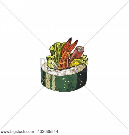 Makizushi Or Rolled Sushi With Shrimps, Sketch Vector Illustration Isolated.