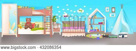 Kids Room Interior Empty No People Babys Bedroom With Wooden Crib Horizontal