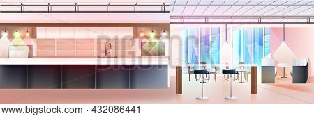 Modern Cafe Interior Empty No People Restaurant With Kitchen Horizontal
