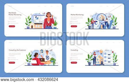 Real Estate Agency Service Web Banner Or Landing Page Set. Property Buying