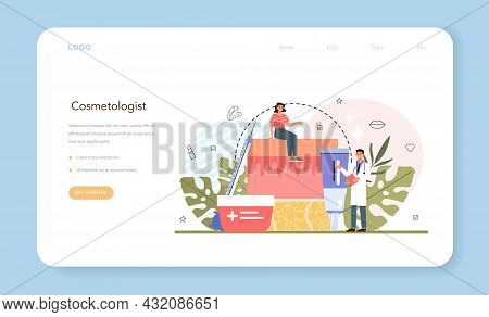 Cosmetologist Web Banner Or Landing Page. Skin Care Procedure