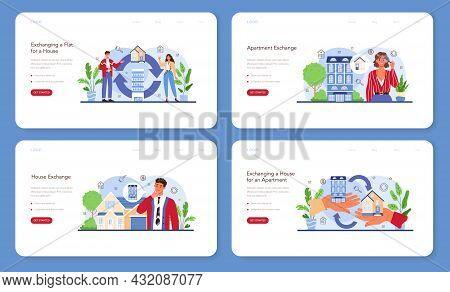 Real Estate Agency Service Web Banner Or Landing Page Set. Qualified Realtor.