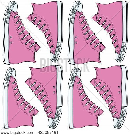 Seamless Pattern With Pink Sneakers, Gumshoes. Vector Color Background.