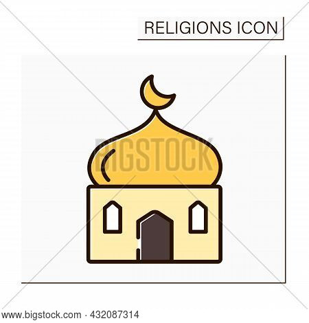 Islam Color Icon. Main Temple In Muslim Culture. Traditional Place Of Worship In Islam. Crescent Mus