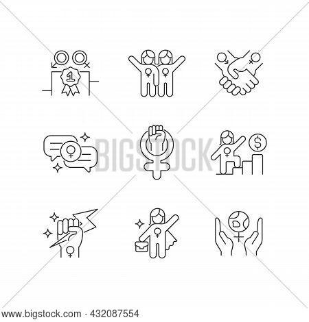 Feminist Movement Linear Icons Set. Gender Parity. Female Friendship. Supportive Sisterhood. Woman P