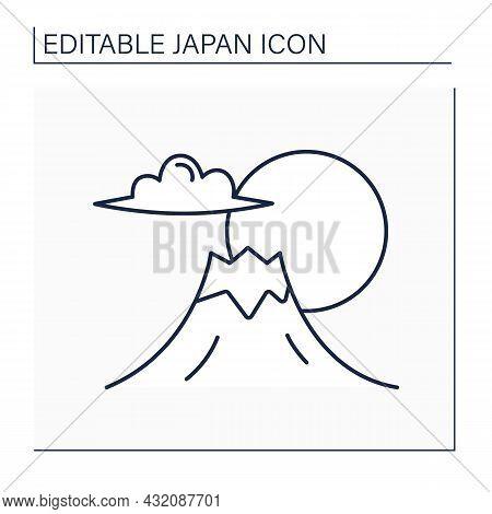 Fuji Mount Line Icon. Japan Highest Mountain. Traditional Symbol. Composite Cone, Stratovolcano. Bea