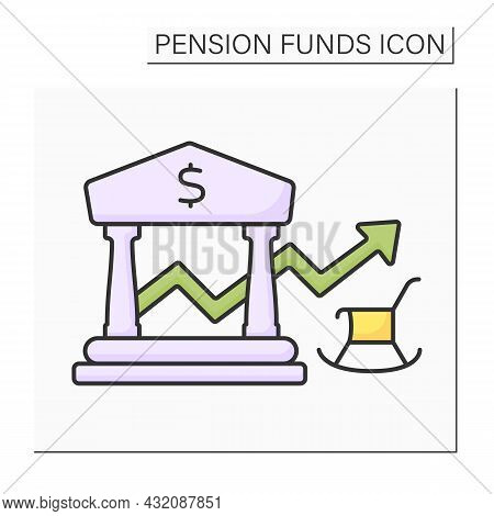 Balance Color Icon. Defined-benefit Plan. Profit, Payout Growth.accumulation Money. Pension Fund Con