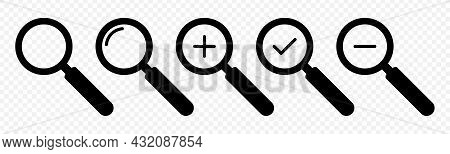 Magnifying Glass Icon Set. Symbols Of Search With Magnifier. Loupe Icons Isolated On Transparent Bac