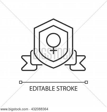 Feminist Organization Linear Icon. Advancing Gender Equality. Achieve Societal Change. Thin Line Cus