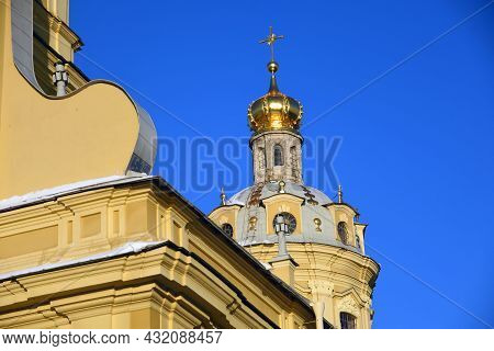 Peter And Paul\'s Cathedral In Peter And Paul\'s Fortress. Saint-petersburg, Russia. Color Winter Ph