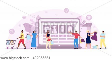 Online Shopping Concept. Marketing, Happy Consumer. Flat E-commerce, People With Purchase Bags Order