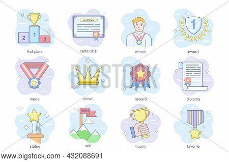 Business Award Concept Flat Icons Set. Bundle Of First Place, Winner, Medal, Crown, Reward, Diploma