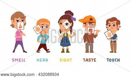 Five Senses. Kids Sense, Taste Hear Sight Smell Touch Organs. Children Holding Medicine Banner With