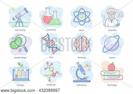 Science Concept Flat Icons Set. Bundle Of Astronomy, Chemistry, Atom, Scientist, Bacteriology, Think
