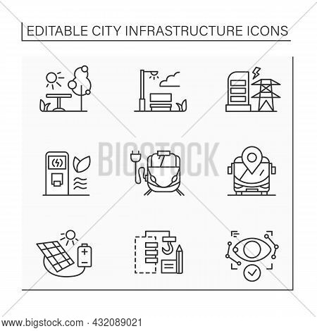 City Infrastructure Line Icons Set. City Increase And Development. Improving Living Conditions. Indu