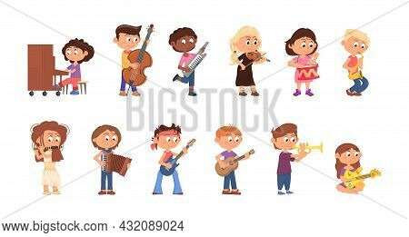 Children Play Music. Teens Playing Musical Instruments, Cartoon Kids Musicians. Cute Kid Hold Guitar