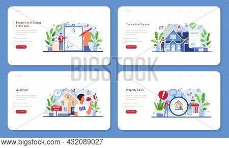 Real Estate Agency Service Web Banner Or Landing Page Set. Assistance