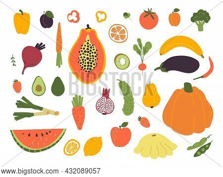 Hand Drawn Fruits And Vegetables. Tropical Fruit, Fresh Food Doodle Style. Colorful Lemon, Watermelo