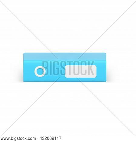 Blue Folder Binder 3d Icon. Closed Volumetric Archives With Business Information