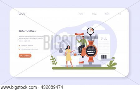 Utilities Sector Of The Economy Web Banner Or Landing Page. Household Energy